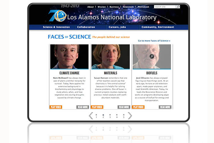 Screenshot of LANL homepage showing carousel