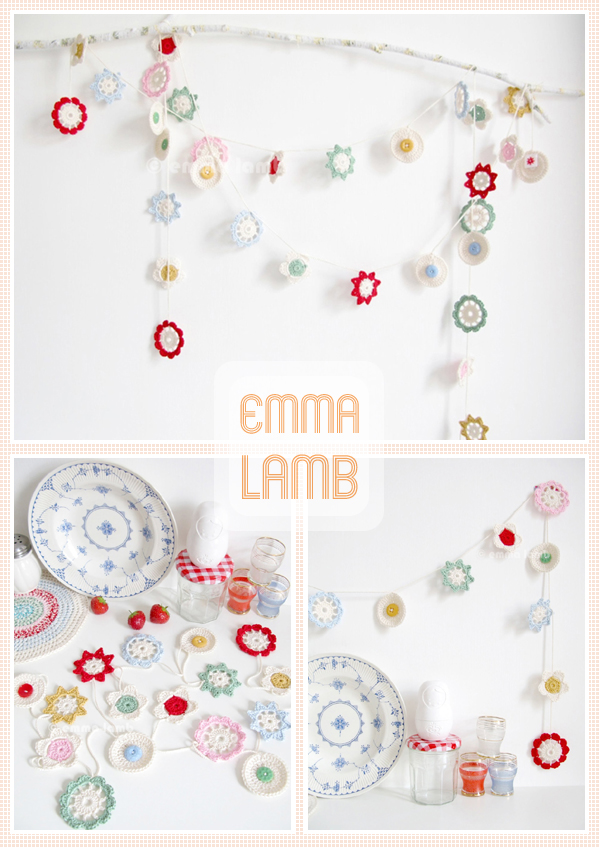 Recent custom work, a fabulous retro kitchen collection of pot holders and Forever Flower Garlands. | Emma Lamb
