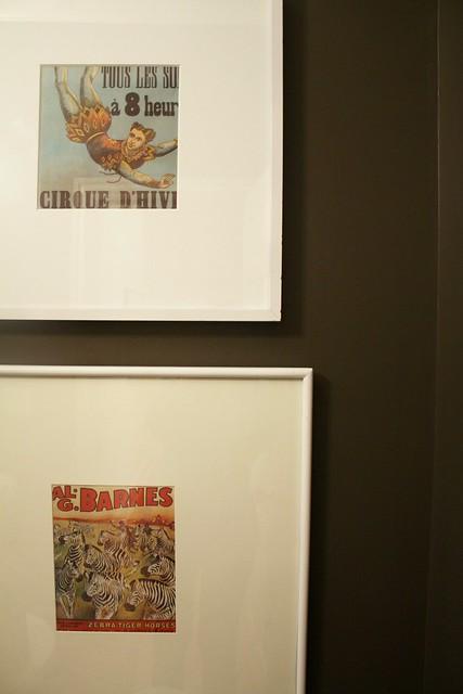 vintage artwork in powder room