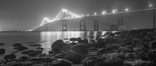 Newport Bridge BW Pano by Royston_Kane