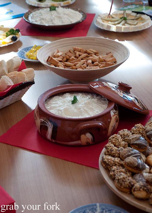 garlic sirene white brine cheese dip, dalbok izvor, bulgaria