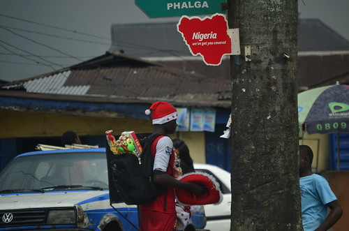 Christmas hat sales on Port Harcourt streets