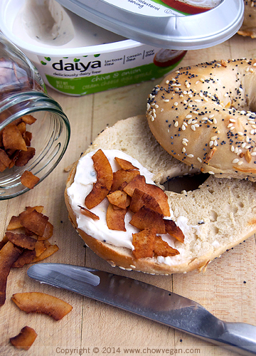 Vegan Cream Cheese and Coconut Bacon Bagel