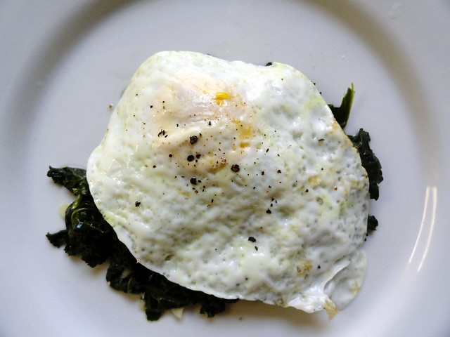 fried egg with kale