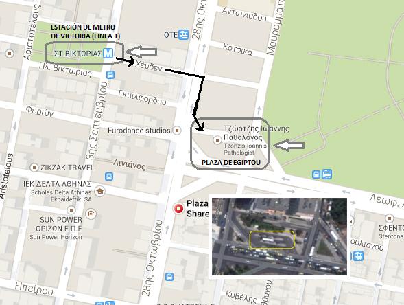 Mapa desde la estación de metro hasta la plaza Egiptou desde donde salen los autobuses a Sunion Cabo Sounion - 12273046176 4042b030f0 o - Cabo Sounion y el Templo de Poseidón