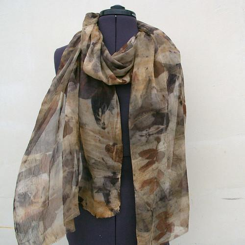 Silk scarf eco print plant dyed by JaneBoFELT