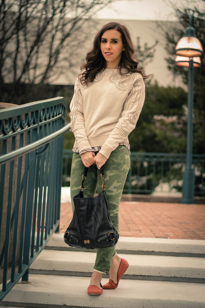 va darling. dc blogger. virginia personal style blogger. beaded sweatshirt. camo pants. printed silk flats.5