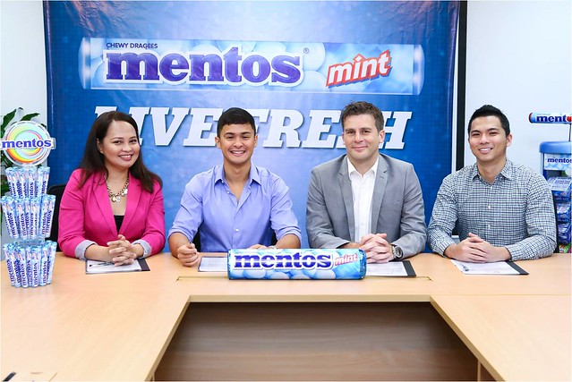 (from left) GigiTibi, President and CEO of RadManila PH, Matteo Guidicelli, Benjamin Verhulsel, Marketing Head of Perfetti Van Melle for Export Far East and Philippine Markets, Eugen Soriano, Senior Brand Mngr