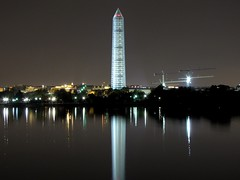Washington Monument in scaffolding at night, viewed from the southwest, across the Tidal Basin [01]