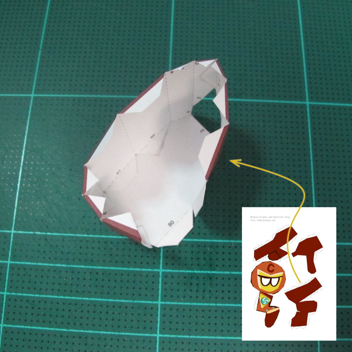 วิธีทำโมเดลกระดาษตุ้กตาคุกกี้รัน คุกกี้รสฮีโร่ (LINE Cookie Run Hero Cookie Papercraft Model) 014