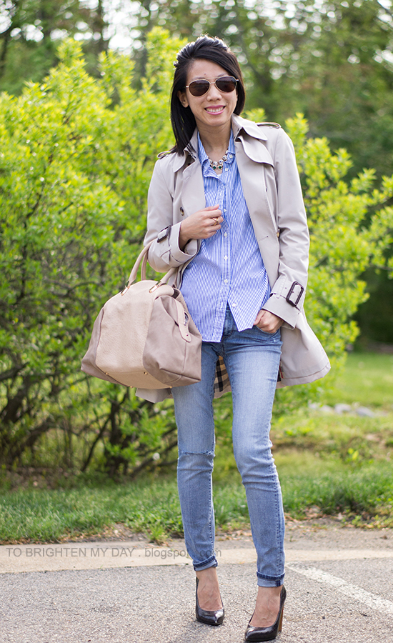 trench coat, stripe button up shirt, light wash jeans