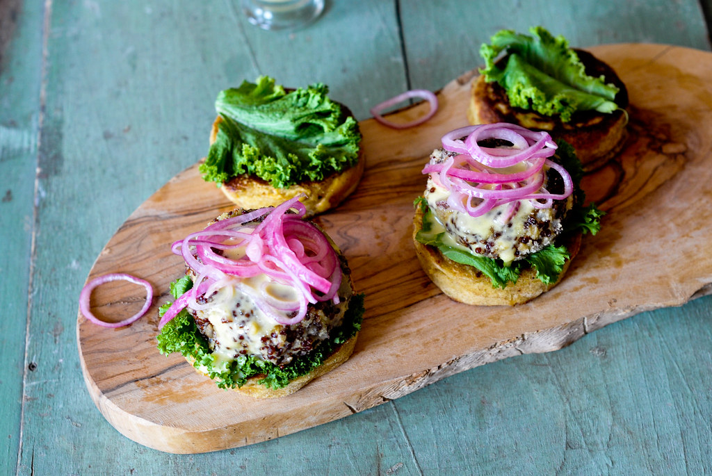 Quinoa Burger with pickled onions and Aioli