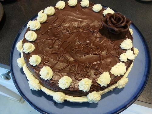 Mother's day chocolate cherry cake w/dark chocolate ganache