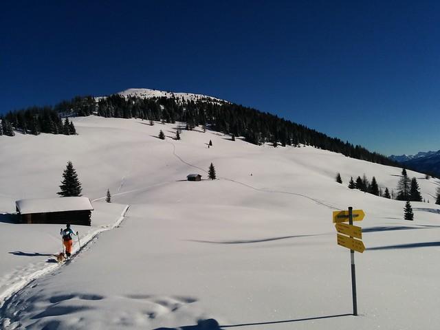 Gipfelaufstieg Dorfberg, über herrlichen Pulverschnee