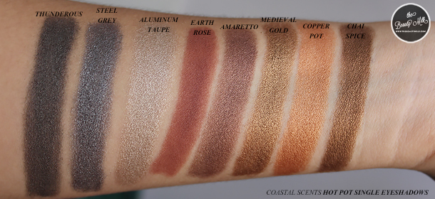 coastal scents eyeshadows collection review swatch amaretto copper pot chai spice melon raisin berry fresh chive rustic maroon earth rose thunderous spring fling oktoberfest oatmeal tan lavender amethyst gold silver black green