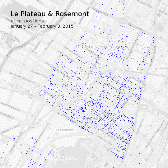 Map of car2go vehicle positions in the Plateau & Rosemont neighbourhoods in Montréal
