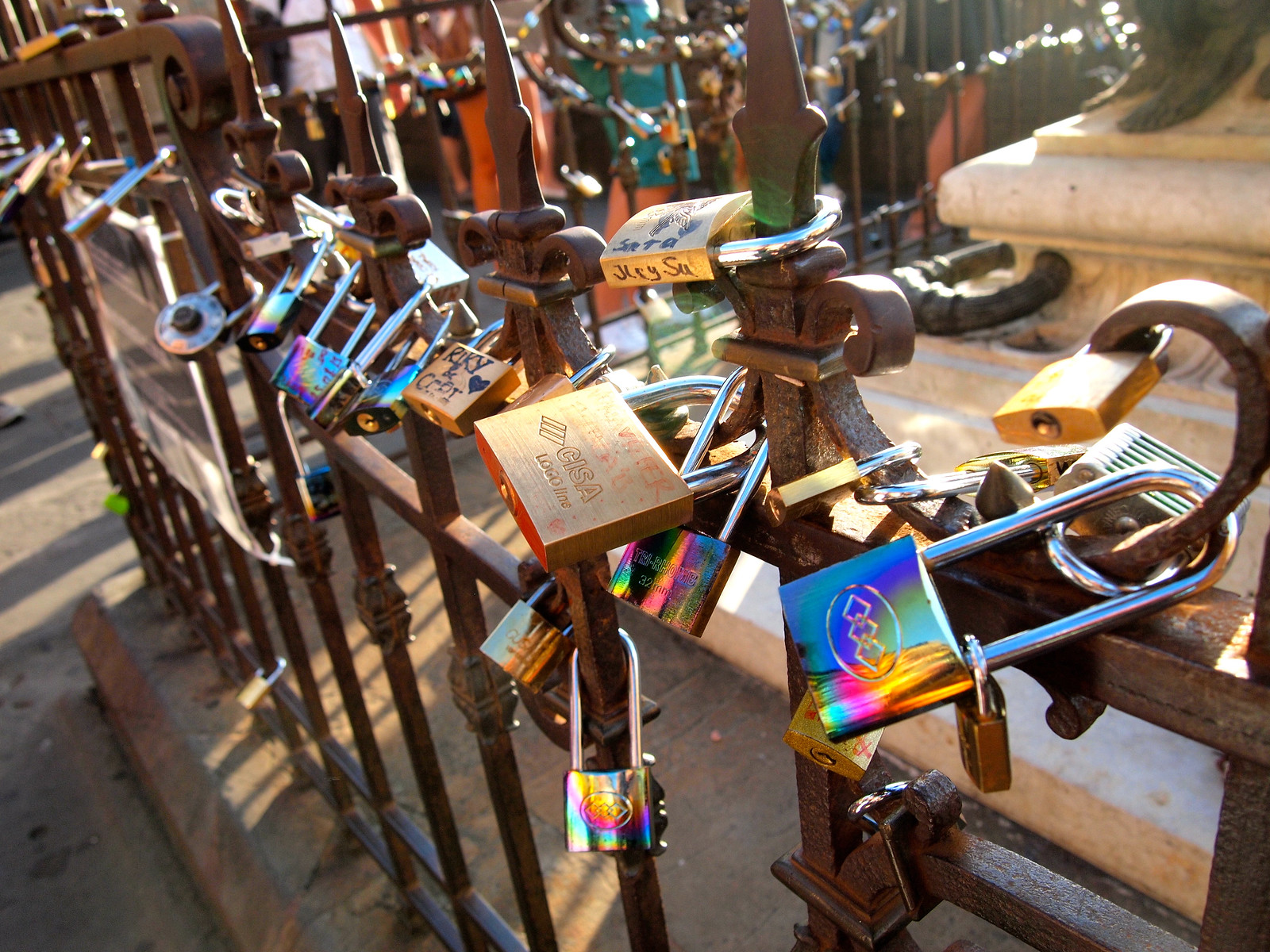 Love locks on the Ponte Vecchio in Florence