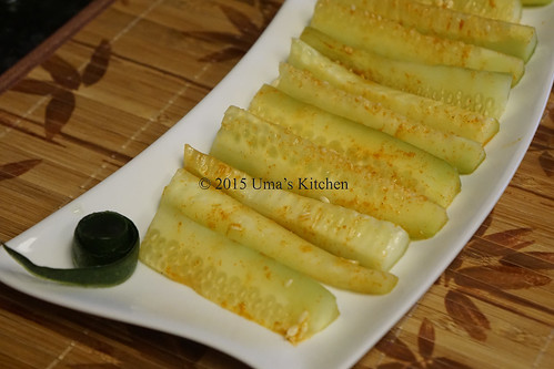Spicy cucumber sticks