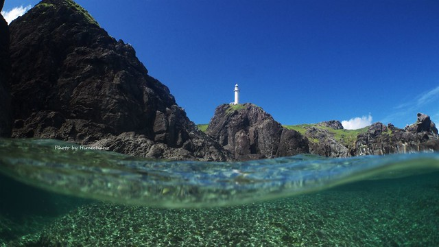 御神崎灯台を半水面で♪