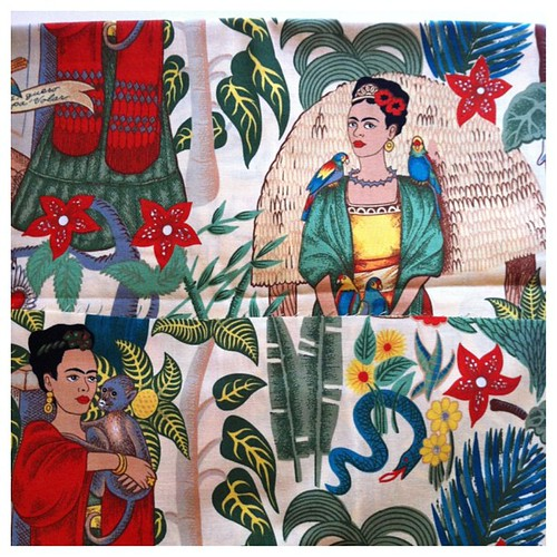 Good #mail day. #Etsy #shopping for #fabric @etsy #pretty #packaging containing #Frida #Kahlo awesomeness!!! #art #artist #legend #shero