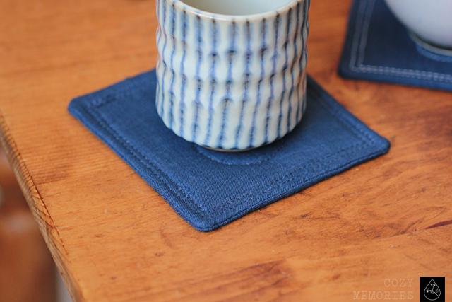 midnight blue linen coasters