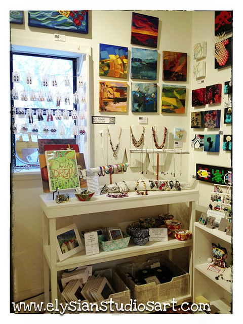 My art and jewelry on display in the famous back room of Zip 37 Gallery