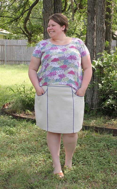 piped linen hummingbird skirt