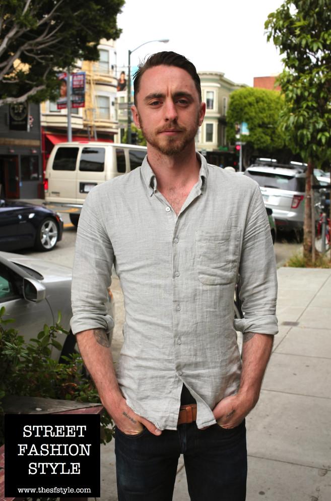 0de10625aed0 Man Morsel Monday + Linen Shirt + Dark Denim + Brown Leather Oxfords - San  Francisco
