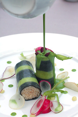 Thiebaut radishes and crab canolli