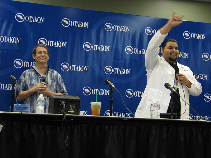 David Williams (left) and marketing director Christian Lopez (right) at Sentai Filmworks panel at Otakon 2013