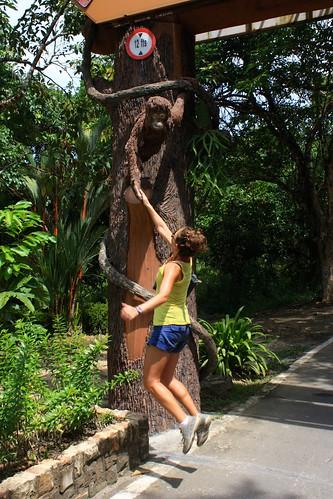 Lina giving a high-five to an orangutan