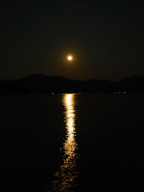 Moon over Lake George