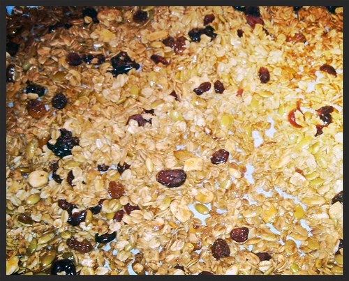 Granola: Super sticky and ready for the oven