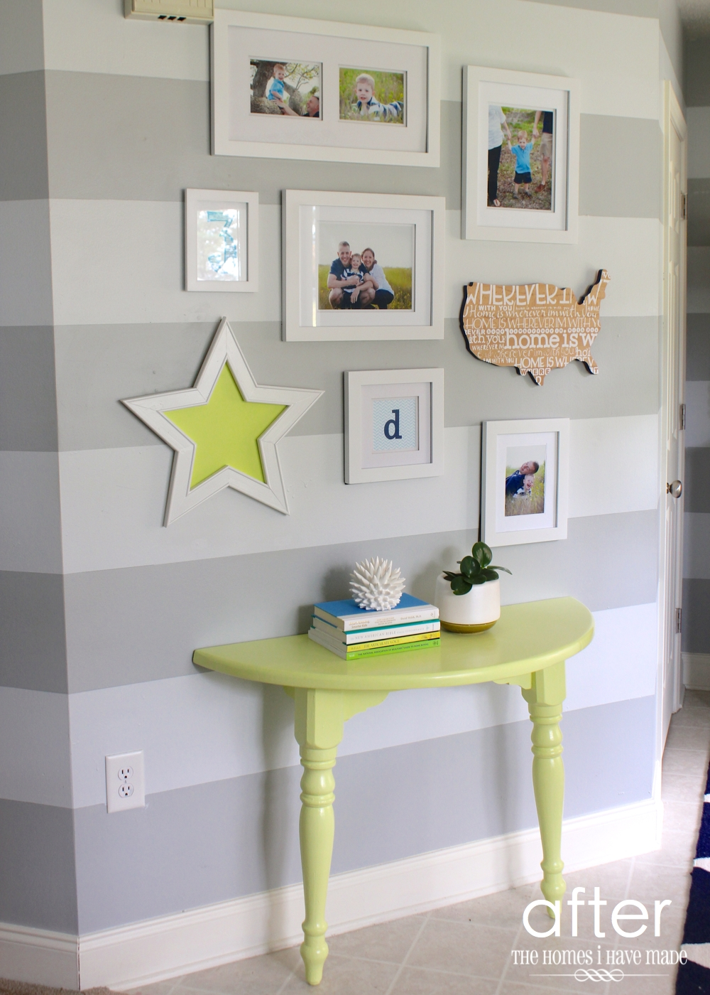 Foyer Console Update : A lemon lime console table and entryway update the