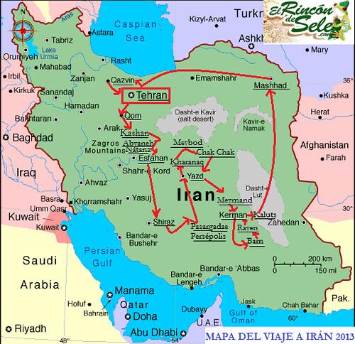 Mapa de la ruta realizada en Irán