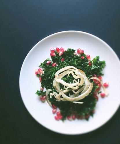 Massaged Kale, Fennel + Pomegranate Salad with a Balsamic Honey Vinaigrette
