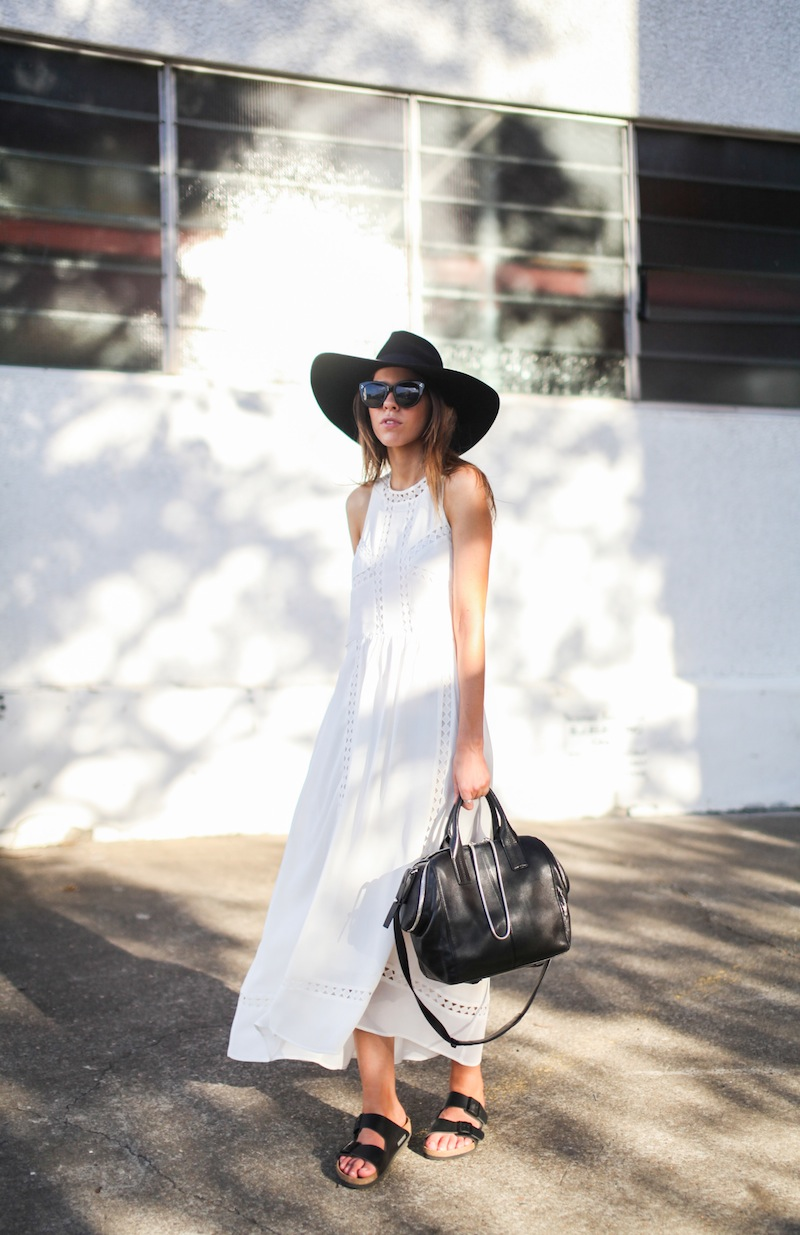 modern legacy fashion blog style blogger white maxi dress summer street style birkenstock sandals wide fedora hat alexander wang bag celine sunglasses monochrome (6 of 8)