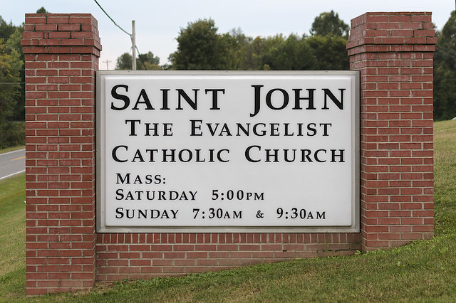 Saint John the Evangelist Roman Catholic Church, in Paducah, Kentucky, USA - sign