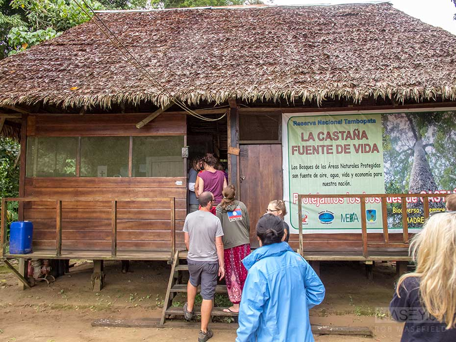 Stopping and registering at the 'Tambopata' checkpoint.