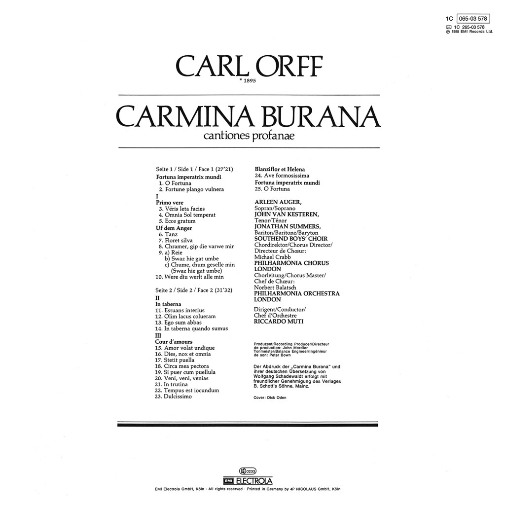 carmina burana The 2017-18 season carmina burana saturday, april 14, 2018 - 7:30pm ticket prices: $30 - $109 pre-concert conversation at 6:30pm in reynolds hall.