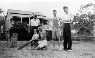 Dahl family playing backyard cricket at Woody Point, February 1935