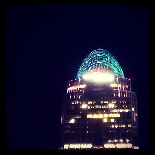 Downtown details: The tiara atop Great American Tower was glowing green for Christmas...