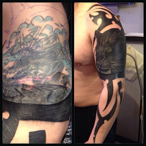 Tattoo today everyday love life tribal panther for Big tattoo cover up