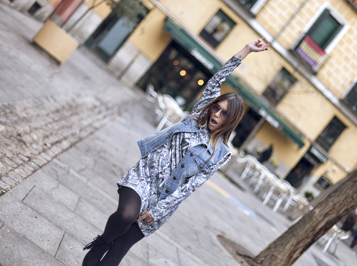 street style barbara crespo crystal print dress sheinside fashion blogger outfit