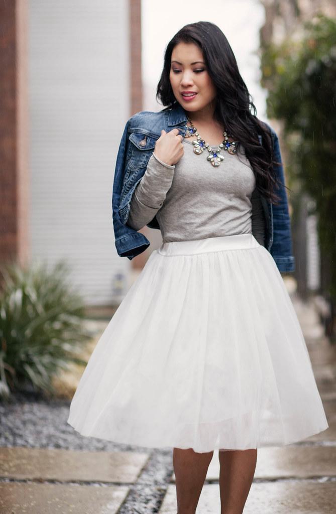cute & little blog | denim jacket, gray shirt, white dresslily tulle skirt outfit