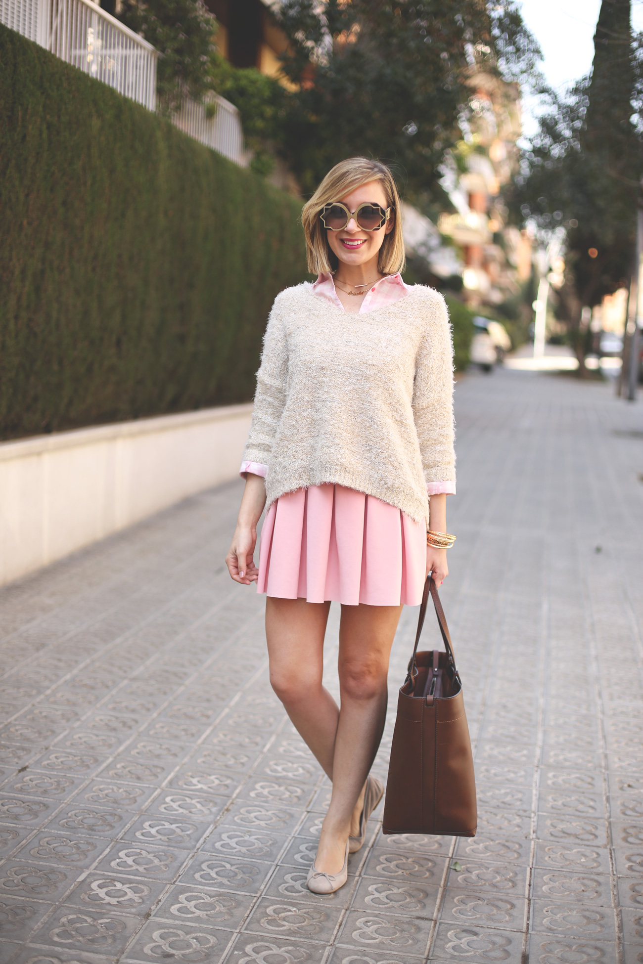 Baby pink, fashion blogger, blonde, girl, pink skirt, falda zara, look lady, pink shirt, camisa cuadros, zara kids, trend, fashion,
