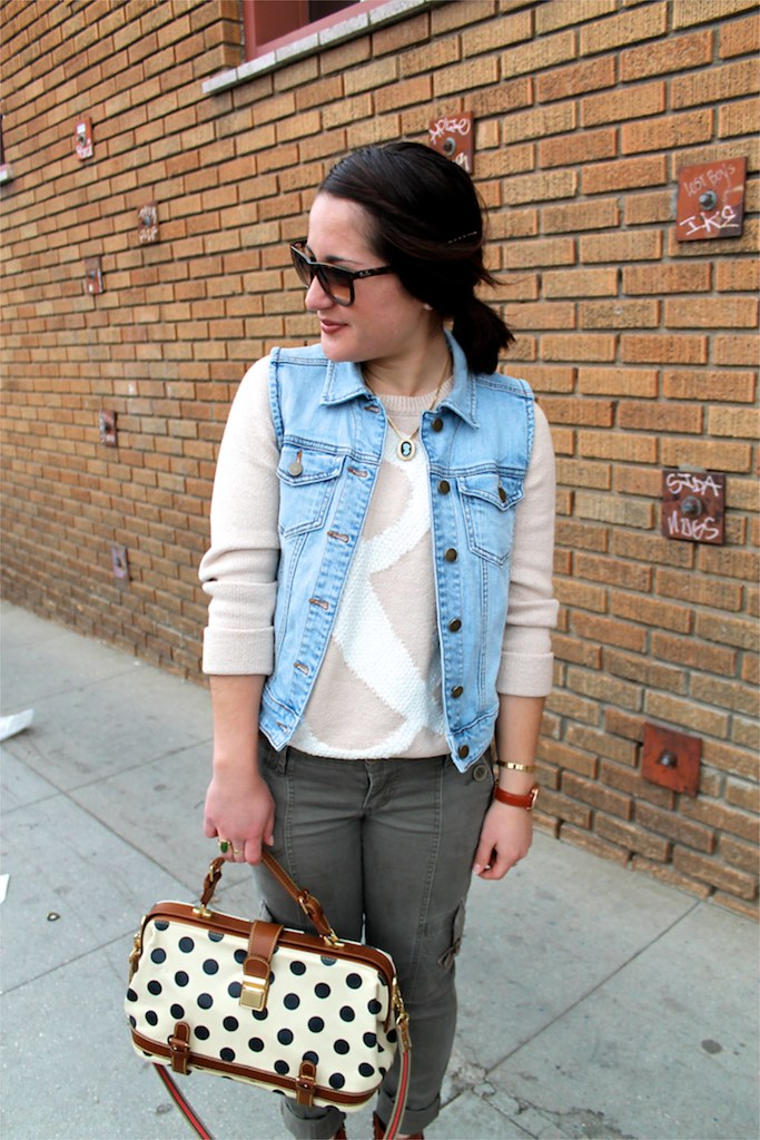 denim jacket, slouchy sweater, and cargo pants