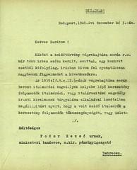 III/3.a. Zobel Lajos miniszteri tanácsos (PM) bizalmas levelei Fodor Rezső debreceni m. kir. pénzügyigazgatónak italmérési engedélyek kiadása tárgyában.