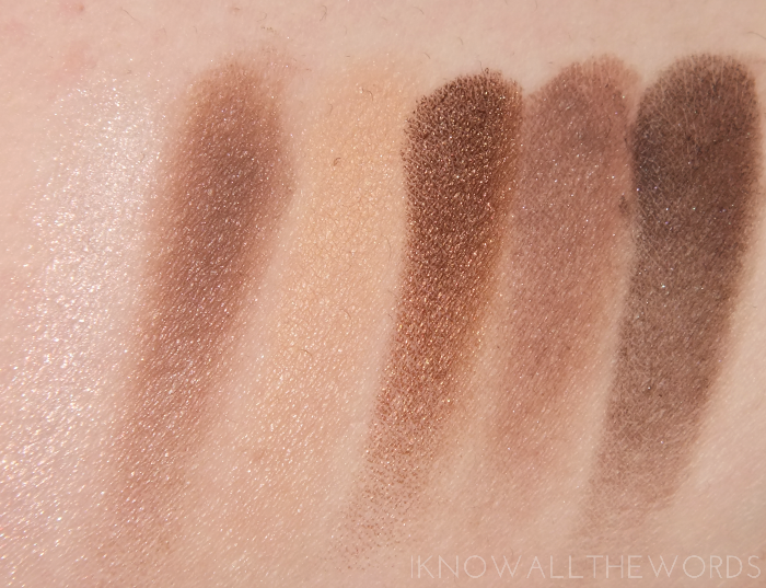 maybelline the nudes palette- top row swatches
