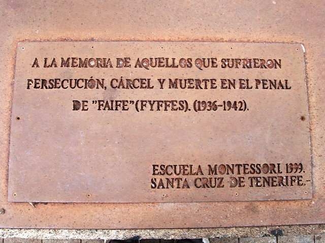 Plaque to the victims of the civil war, La Rambla, Santa Cruz, Tenerife